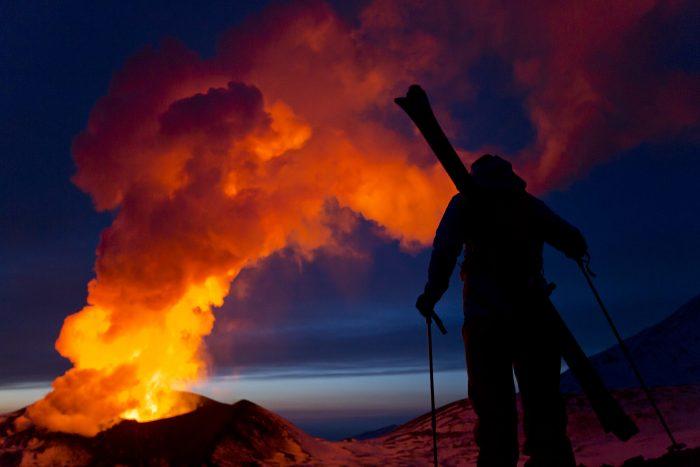 Skiing a volcano