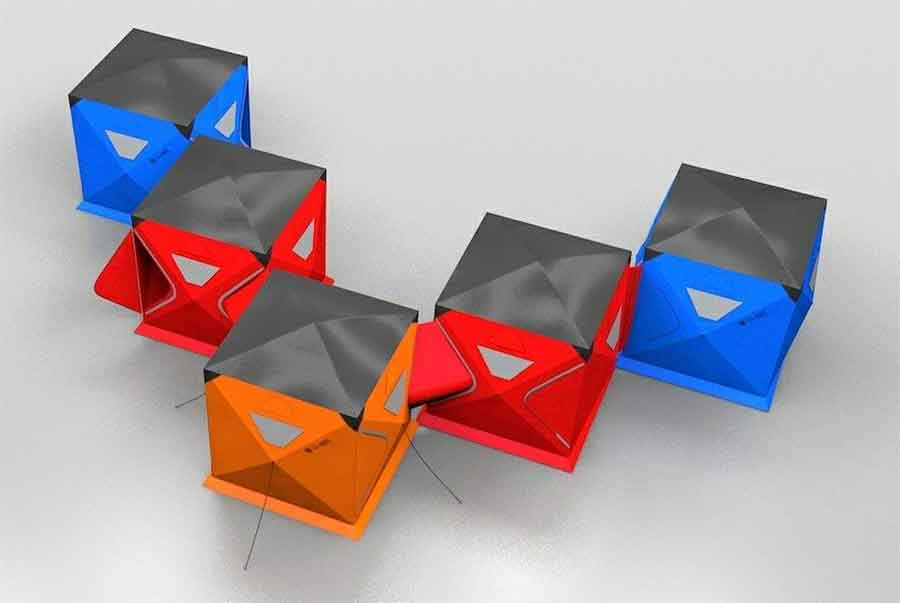 M2C Innovation Ltd Qube connected c&ing tents & Connect-Together u0027Qubeu0027 Tents For Modular Camping
