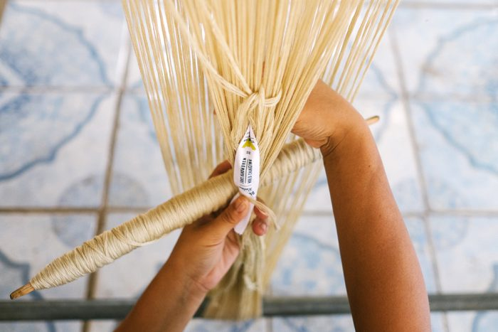 yellow leaf hammock hand weaving