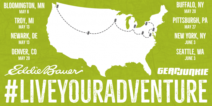Eddie Bauer Live Your Local Adventure 2017 tour map