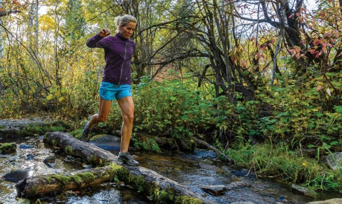 Stio Runner In Woods Over Steam