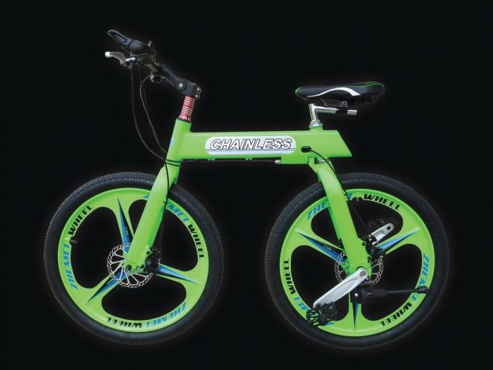 green chainless bike