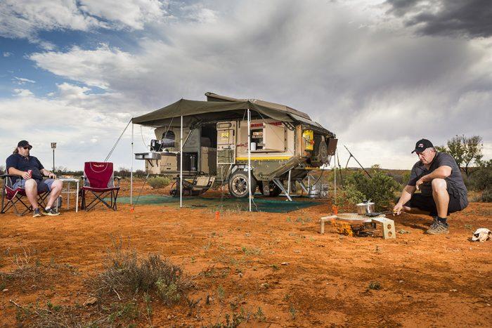 conqueror trailer set up desert