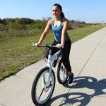 woman riding chainless bike