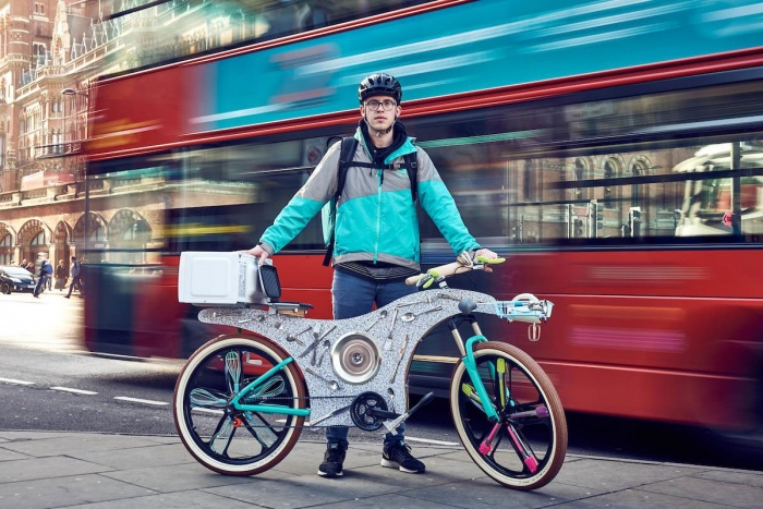 upcycled deliver bike made from kitchen utensils