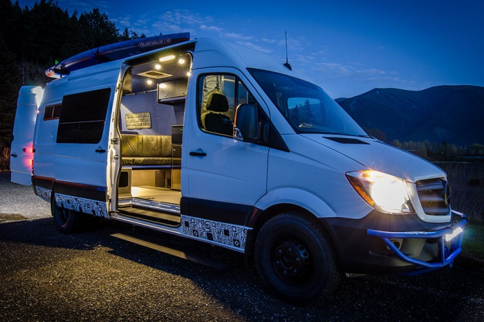 outside camper van conversion at night