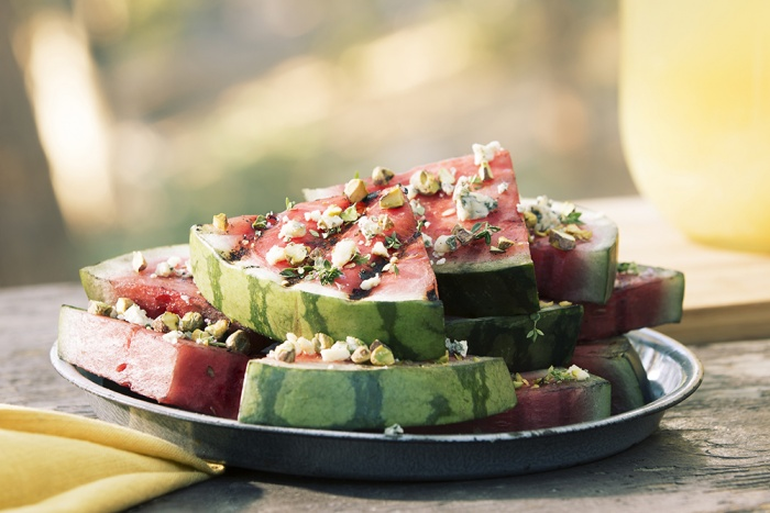 grilled watermelon with gorgonzola crumbles recipe