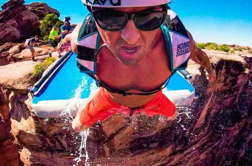 crazy 500 ft BASE Jump off slip and slidea