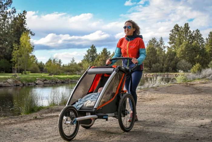 thule chariot stroller mom baby