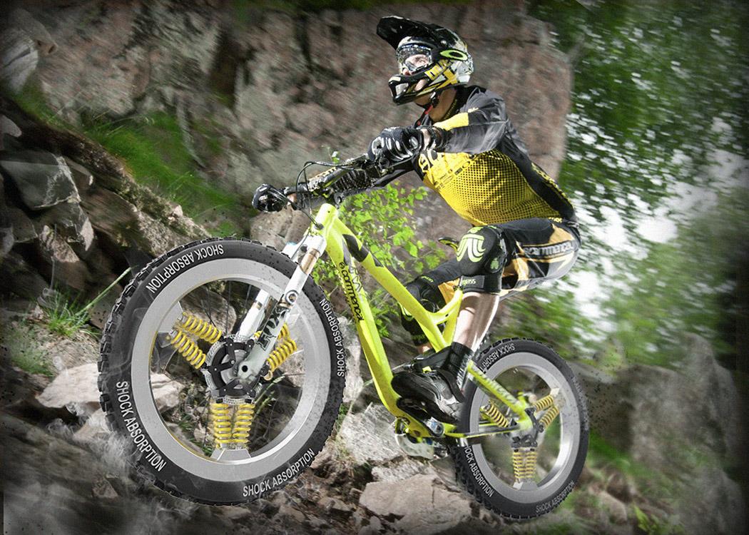 Spoke shocks radical mtb suspension concept for Suspension triple