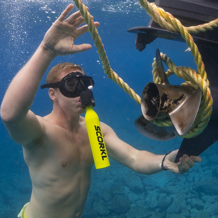 self inflating mini dive tank