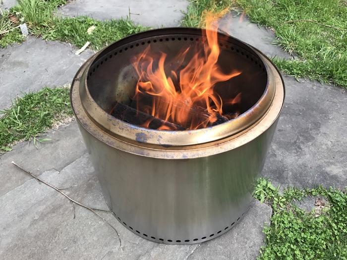 solo stove bonfire on wooden deck