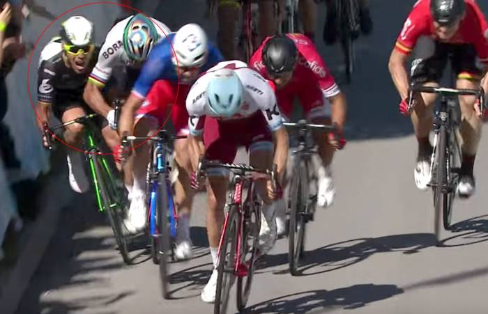 Mark Cavendish elbowed, Peter Sagan Disqualified from Tour De France