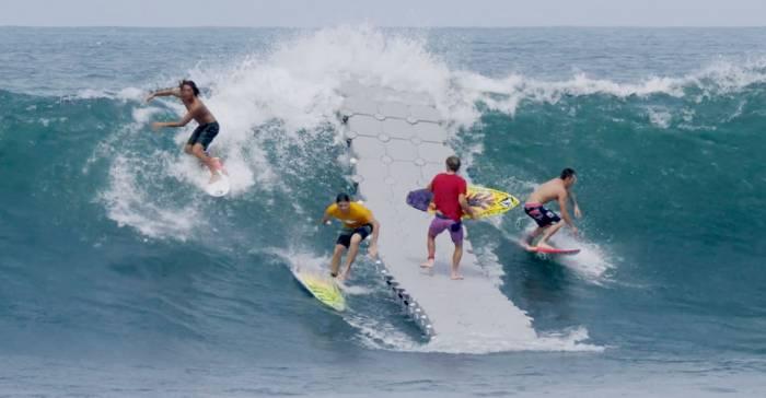 surfers dock ocean