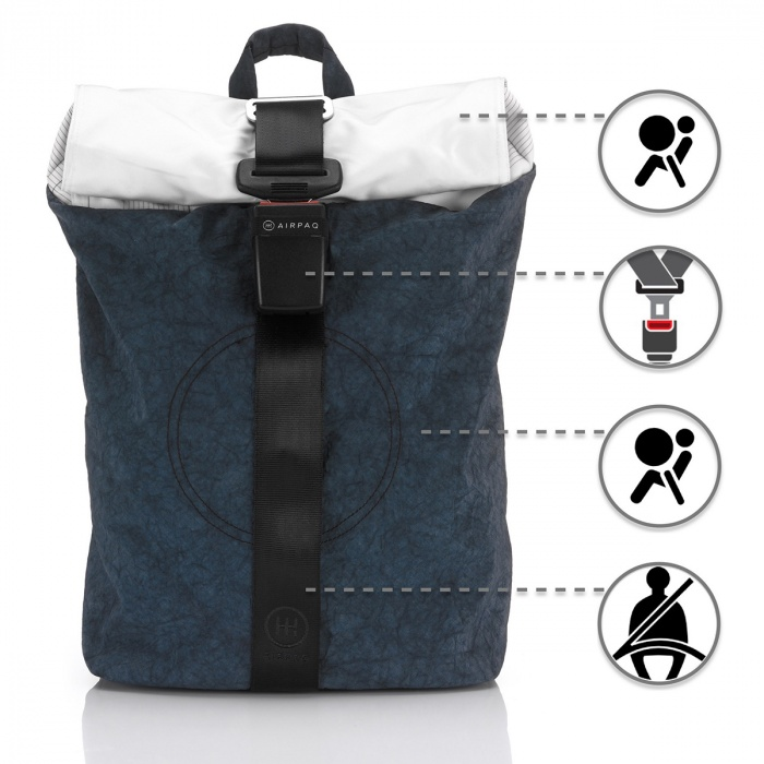 upcycled airbag backpack