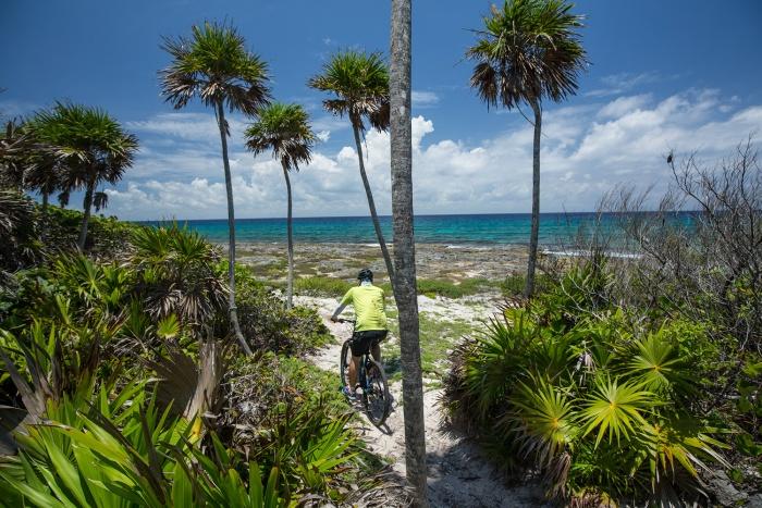 Mountain biking on the Yucatan beach