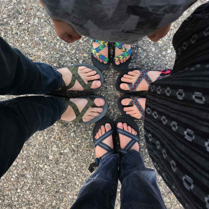 The family gets outfitted in Chaco sandals, a brand based in Grand Rapids