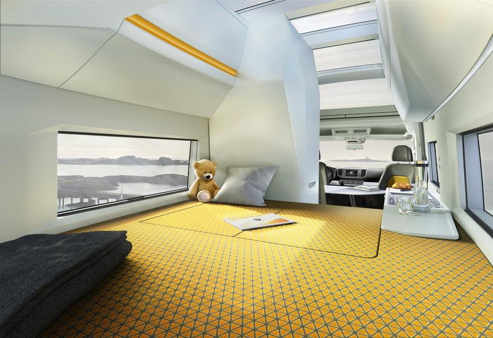 VW Concept Van Ultimate Camper Unveiled At German  : kid sleeping area california xxl from gearjunkie.com size 976 x 670 jpeg 131kB
