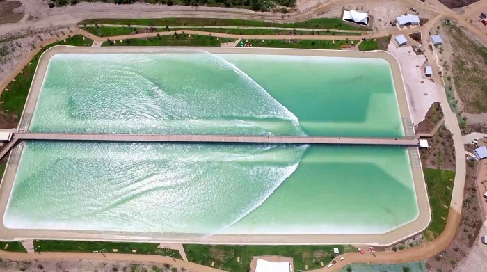 A pier traverses the 14-acre lagoon and hides NLand's 'wave machine'