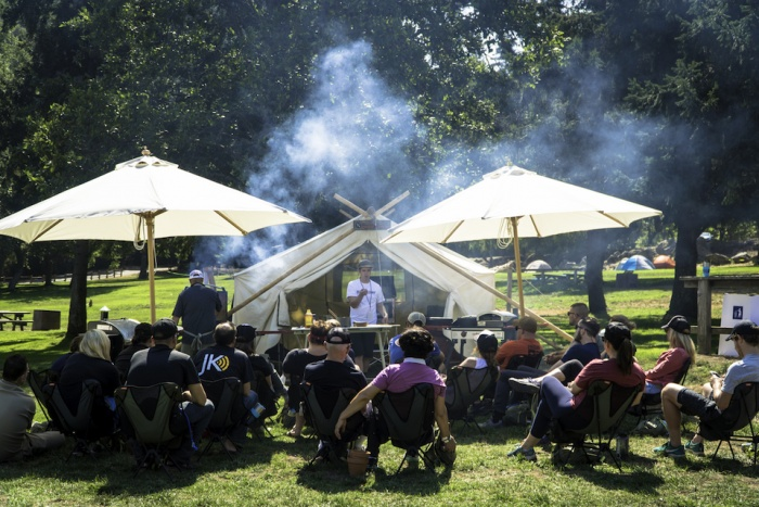 Participants enjoy a lesson in camp cooking at the Camelbak Pursuit Series San Francisco
