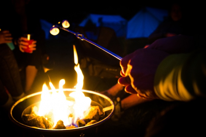 Roasting smores at the Camelbak Pursuit in San Francisco
