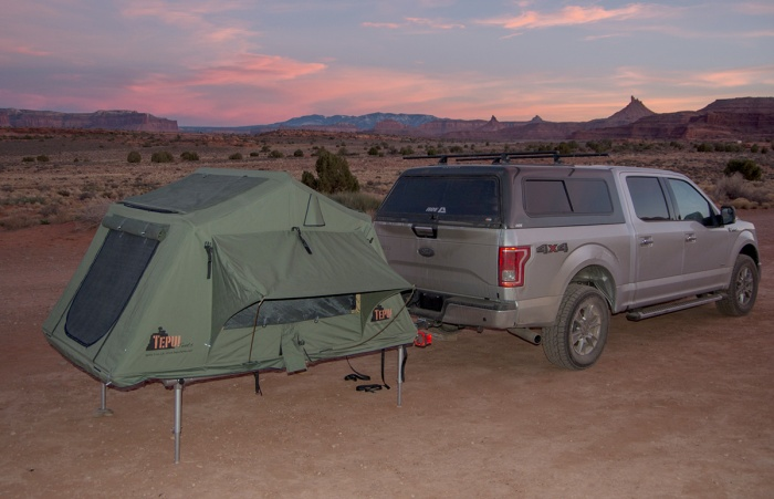 Tent deployed (connected to hitch mount)