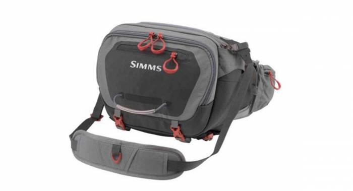 The Simms Fishing Waist Pack is a mid-size fanny pack with shoulder strap.