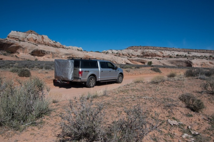 Folded up: Your 'rooftop' tent is low-profile on the rear of the vehicle