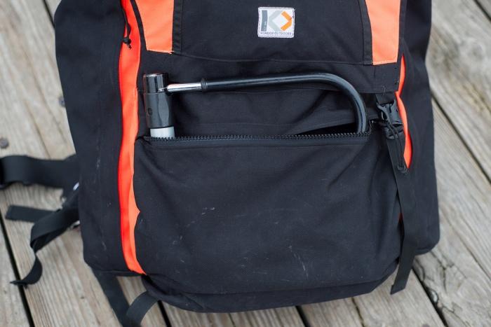 kondos outdoors trailblazer pack zip pocket u-lock