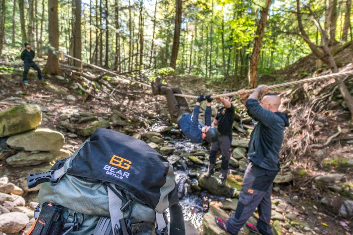 Ropes course at Bear Grylls Survival Academy in the Catskills of New York