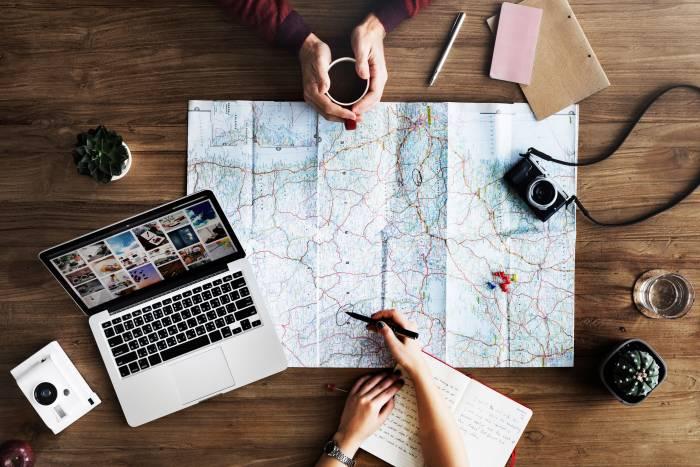 map writing studying coffee