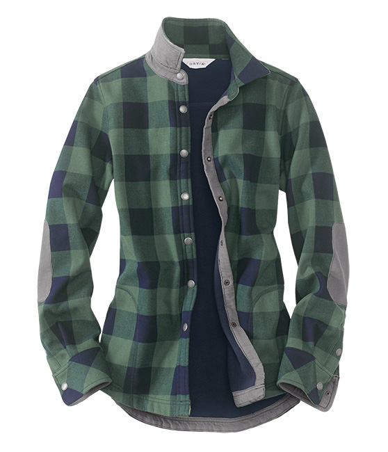 Orvis Teton Flannel Shirt Jacket for Women buttons up and has elbow patches
