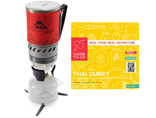 MSR Windburner Stove and Good To Go Thai Curry Backpacking Food
