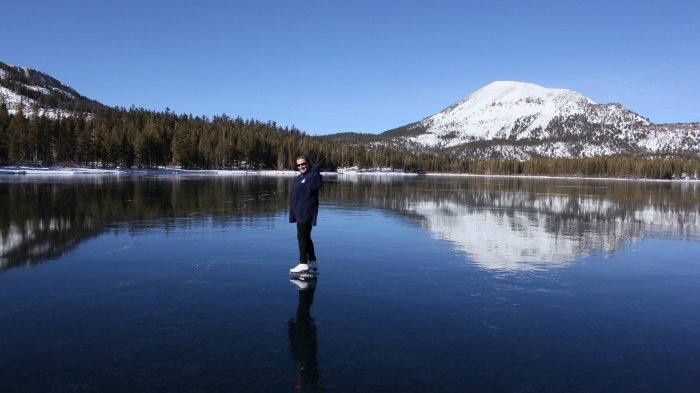 ice skating frozen alpine lakes