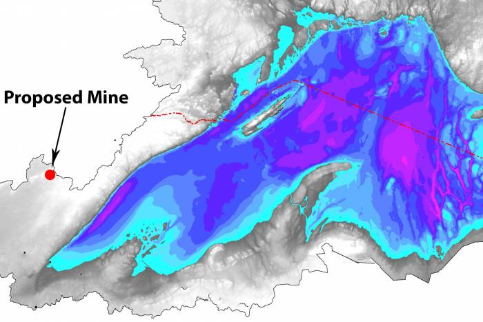 lake superior bathymetry map polymet mine