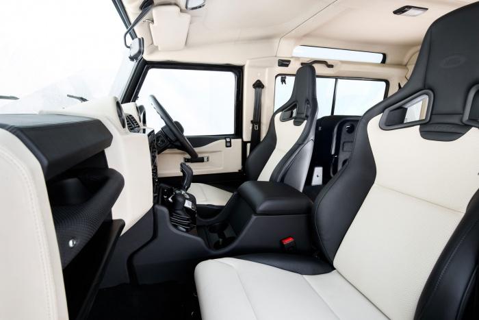 land rover defender works v8 interior seats