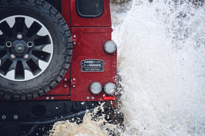 land rover defender works v8 rear badge