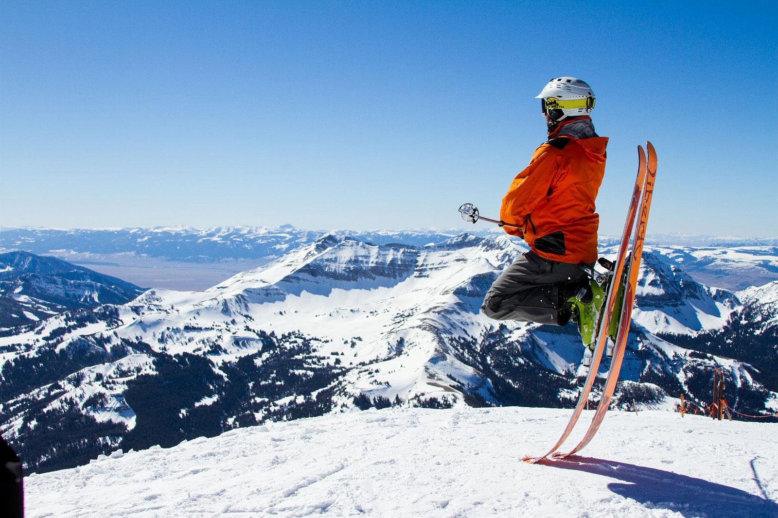 skier perched big sky montana