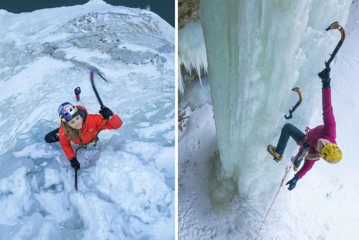 Sasha DiGiliuan (left) and Angela VanWiemeersch on stout ice near Munising, Mich.