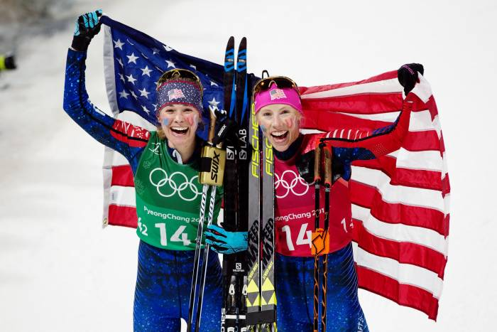 Jessie Diggins Kikkan Randall US Gold Medal Cross Country Skiing