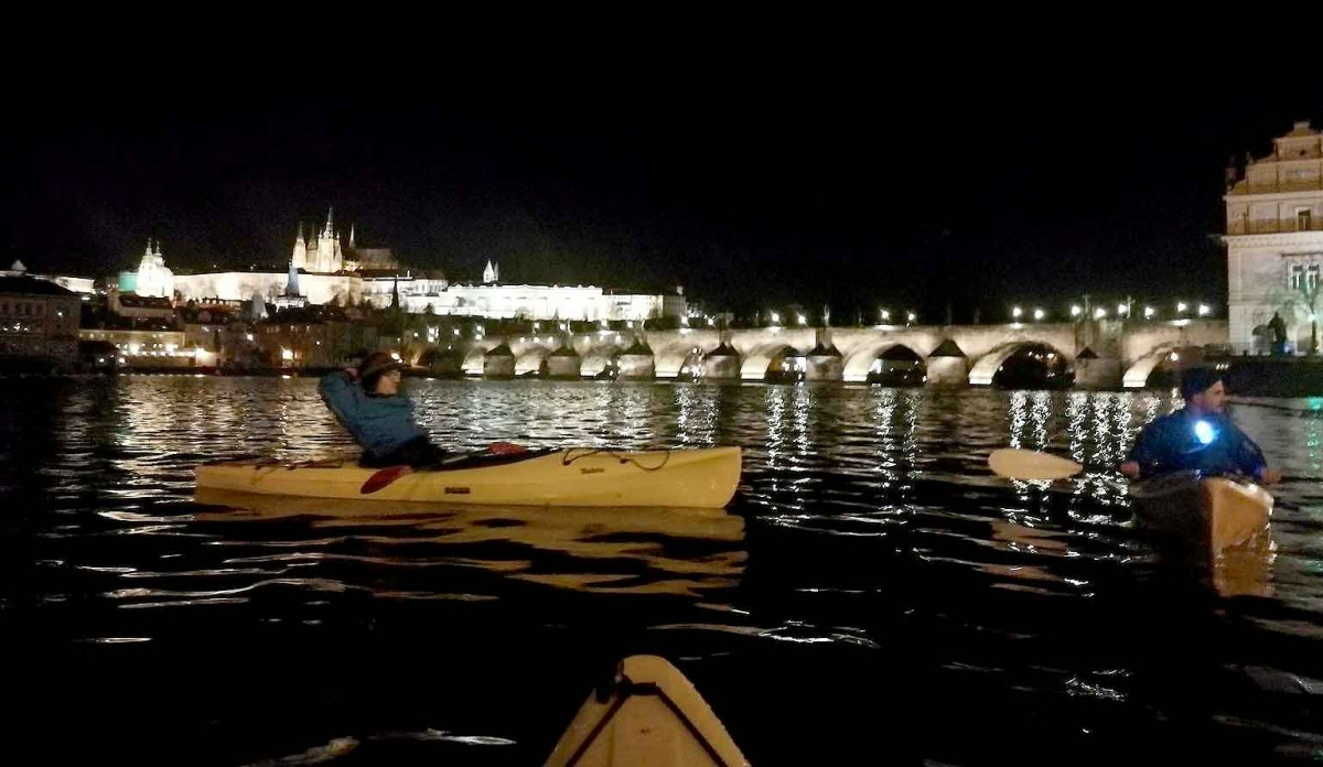 Night paddle on the Vltava River