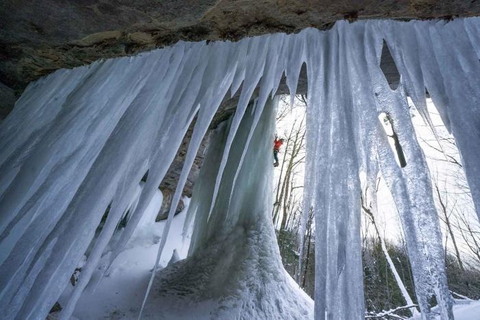 ice climber in michigan