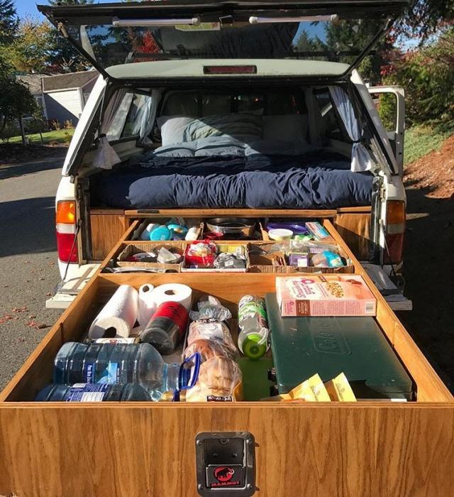 sliding storage sleep camper truck