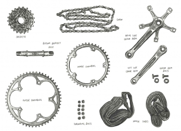 bicycle components road biking illustration chainring crank arm tires tubes