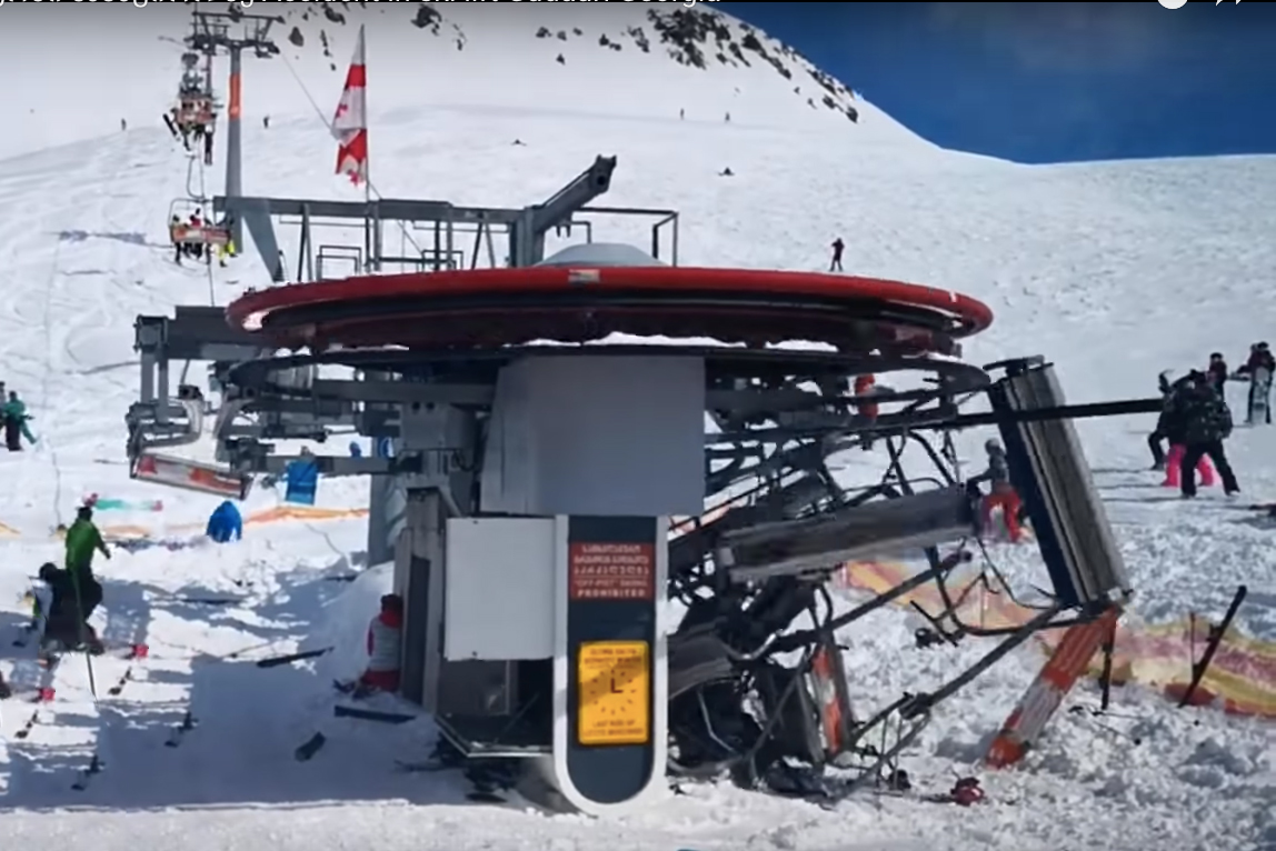 chairlift malfunction Gudauri resort Georgia tosses riders off