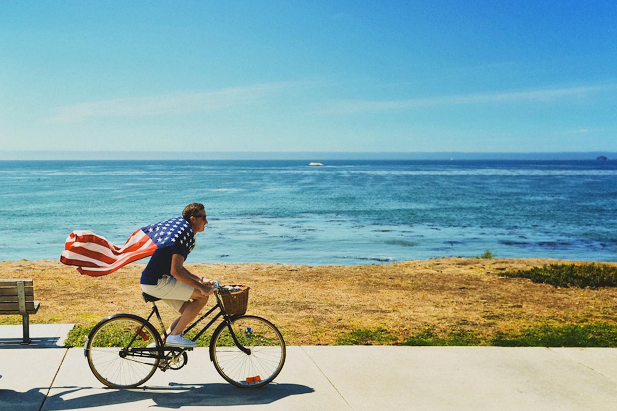cyclist-american-flag