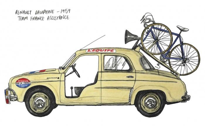 Renault Dauphine Tour de France Team car 1959 illustration