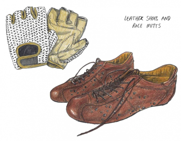 Leather cycling shoes knit-mesh gloves illustration retro