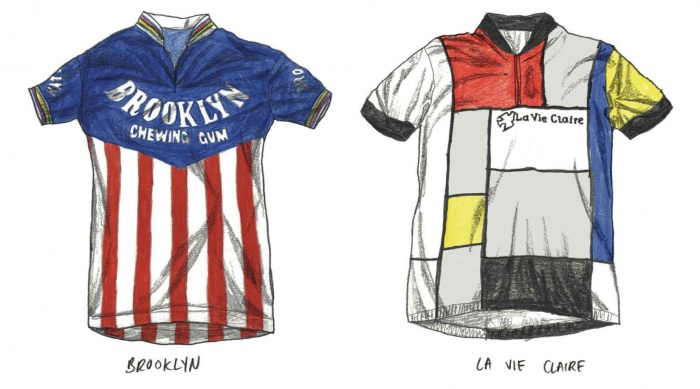 Brooklyn and La Vie Claire cycling jerseys
