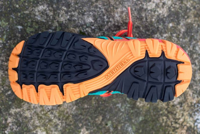 Sole of Merrell MQM Flex shoe
